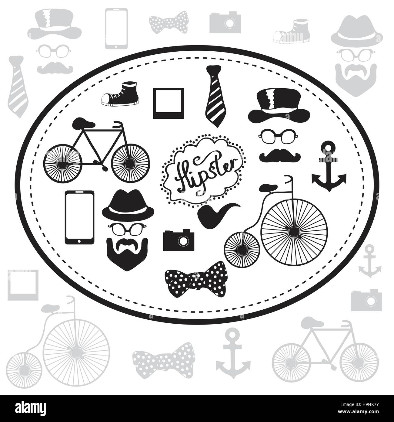 Hipster and retro style icon set - black and white vector illustration - Stock Image