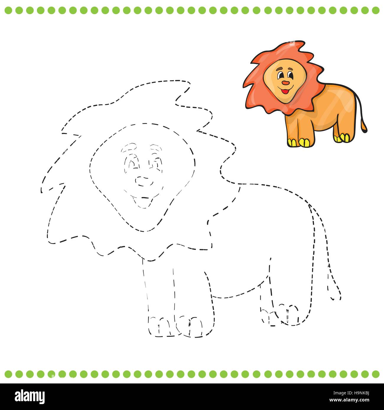 Connect the dots and coloring page - lion Stock Vector Art ...