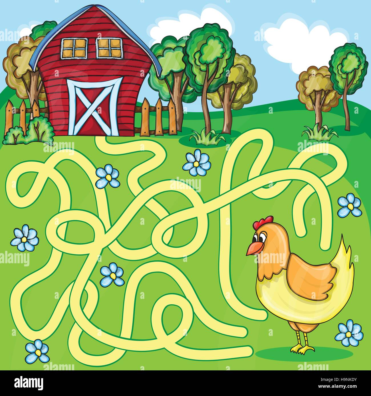 Funny Maze Game -  Cartoon Chicken Farm Style - vector Illustration - Stock Vector