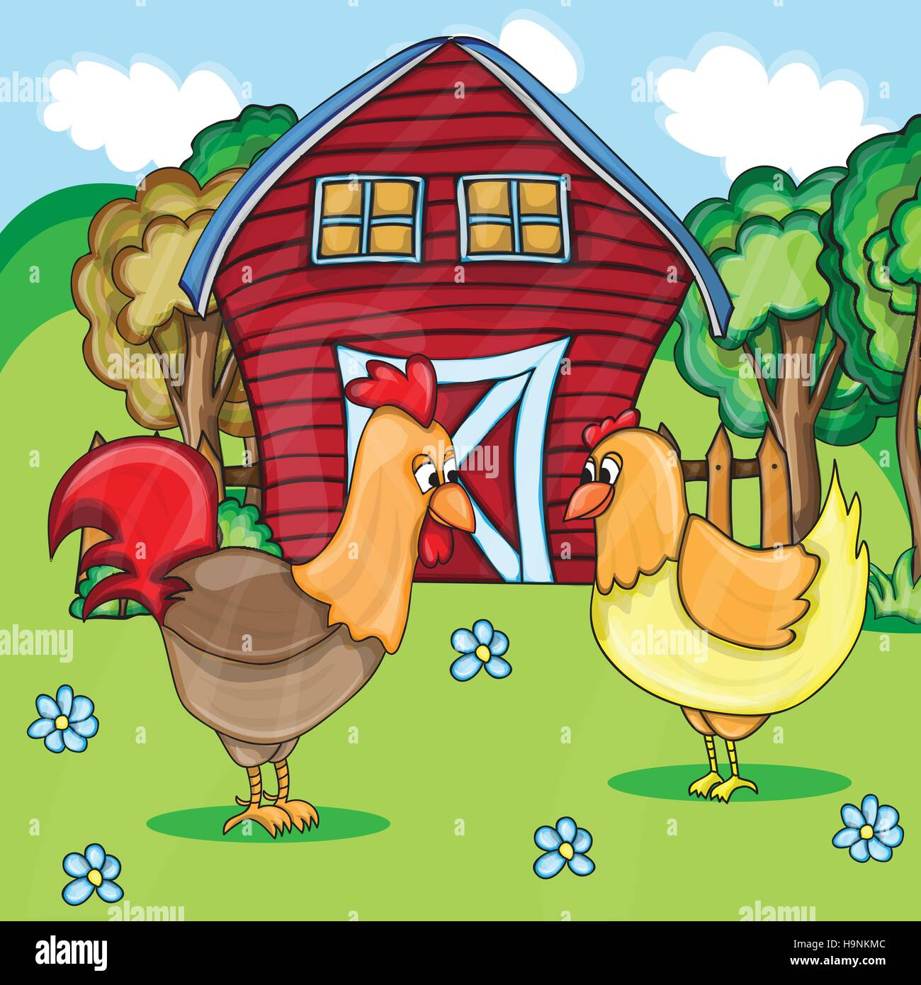 Rooster and chickens on the bacgroung of rural farm landscape - Stock Vector