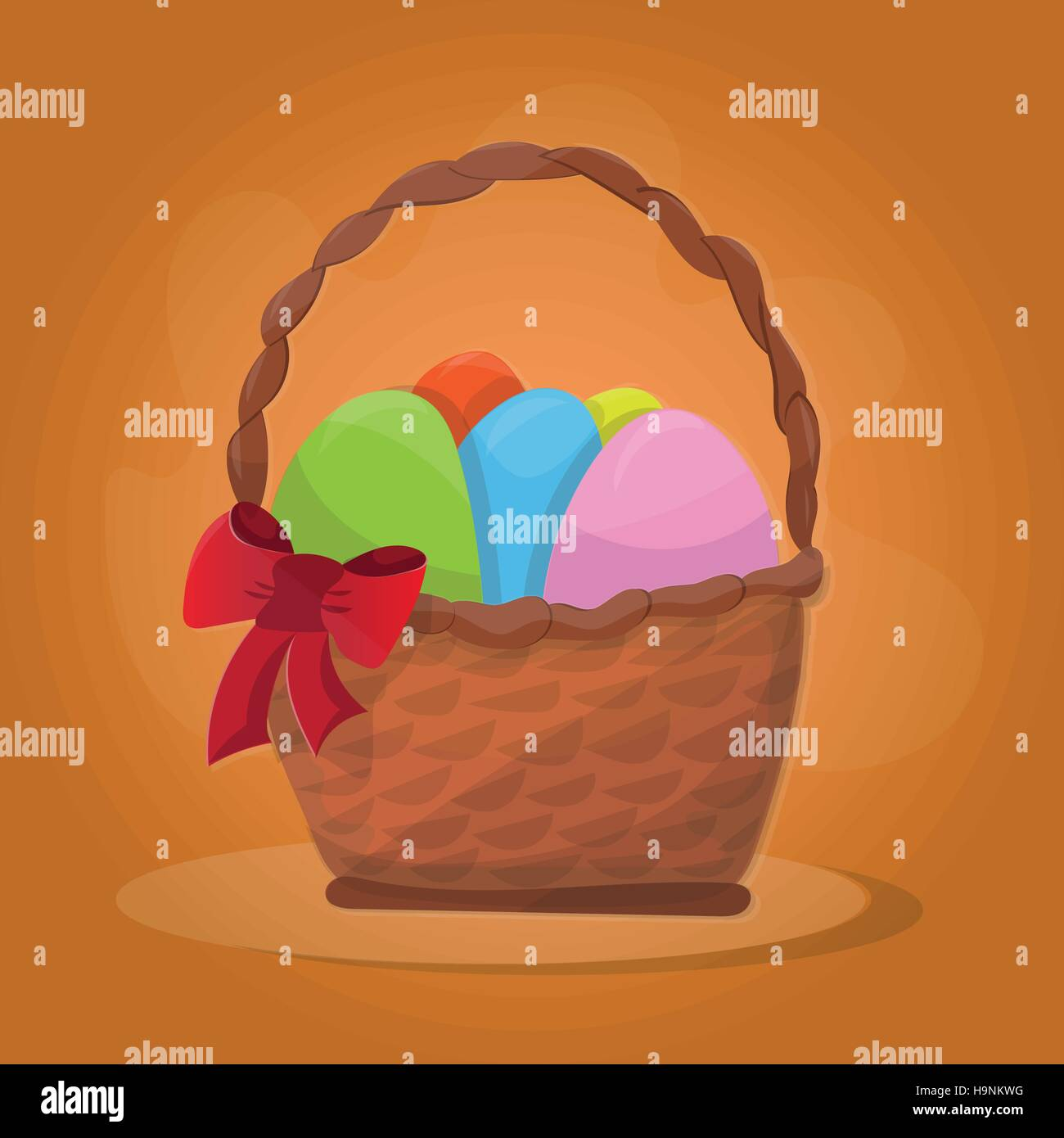 Basket with Easter eggs on a orange background - Stock Vector
