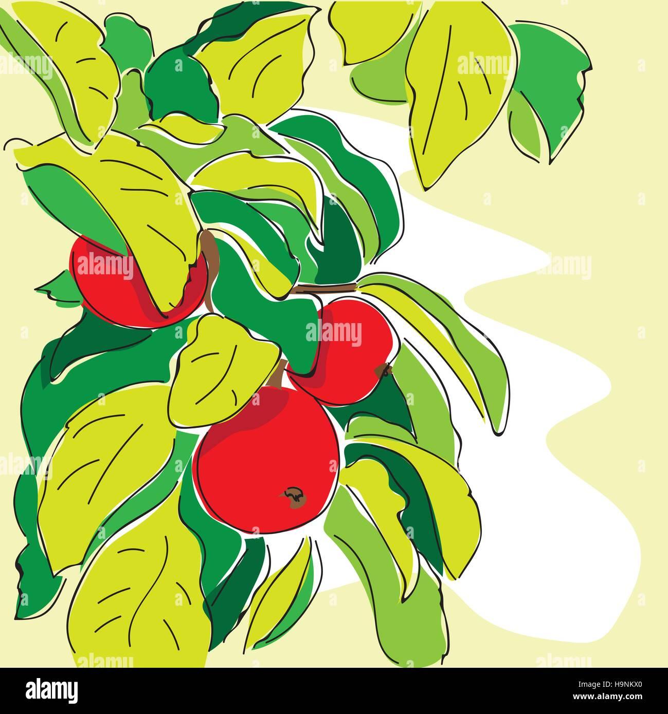 cartoon apple tree  in doodle style - vector - Stock Vector