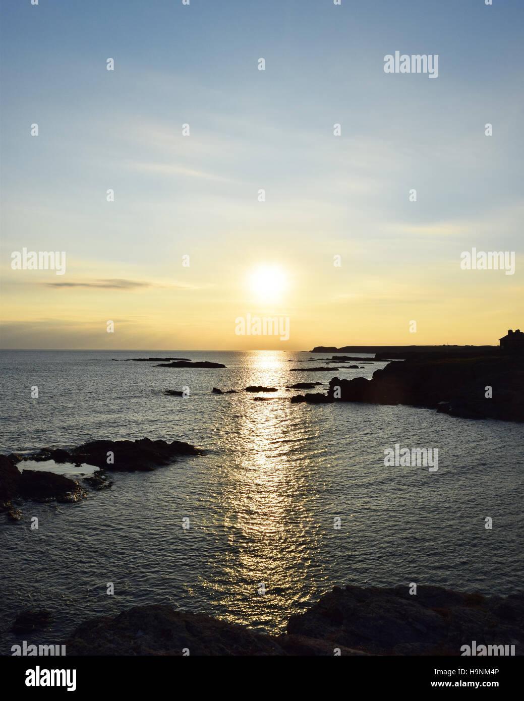 Sunset at Trearddur Bay - Stock Image