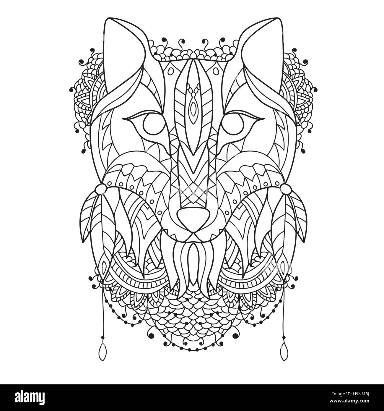 Fox Pattern style zentangl- Vector sketch for tattoo -Coloring - Stock Image