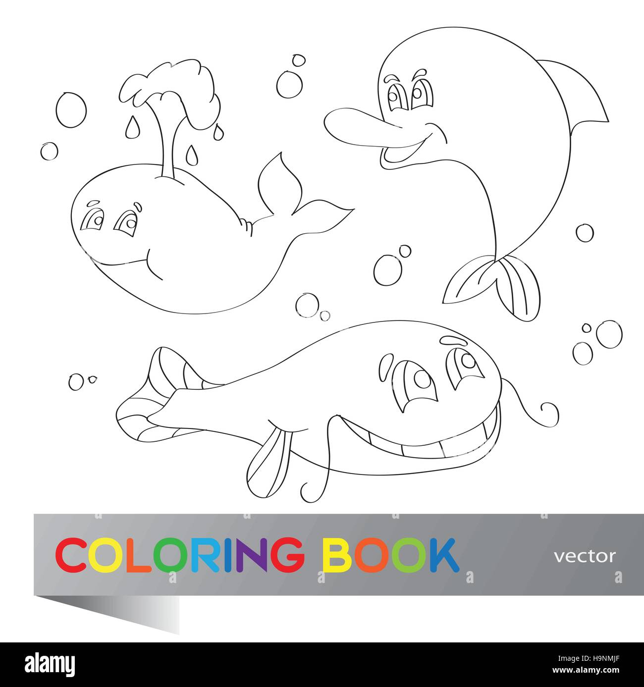 Coloring book - set of images of the marine life - Stock Image