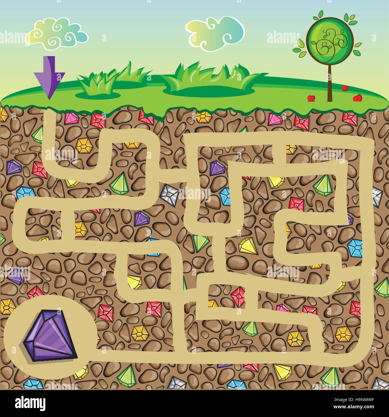 Maze for children - nature, stones and precious stones under the ground - get the path to the diamond - Stock Image