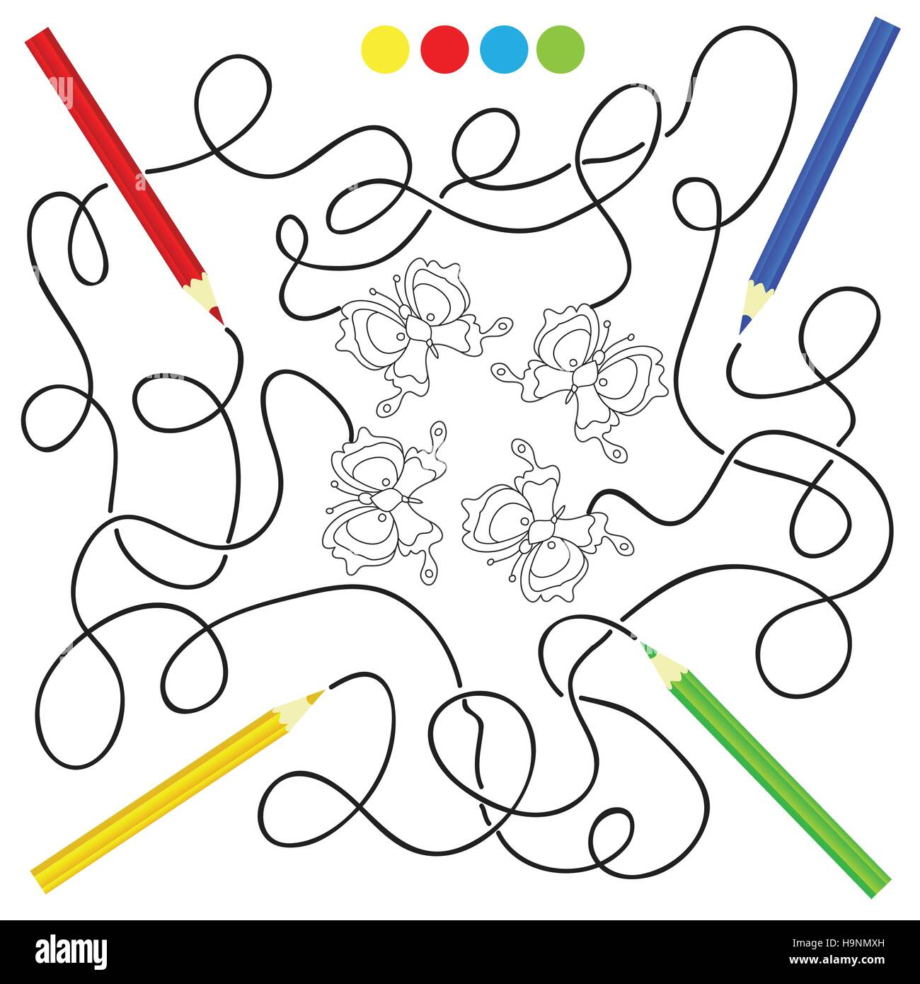maze game and coloring activity page for kids: Help the pencils to ...