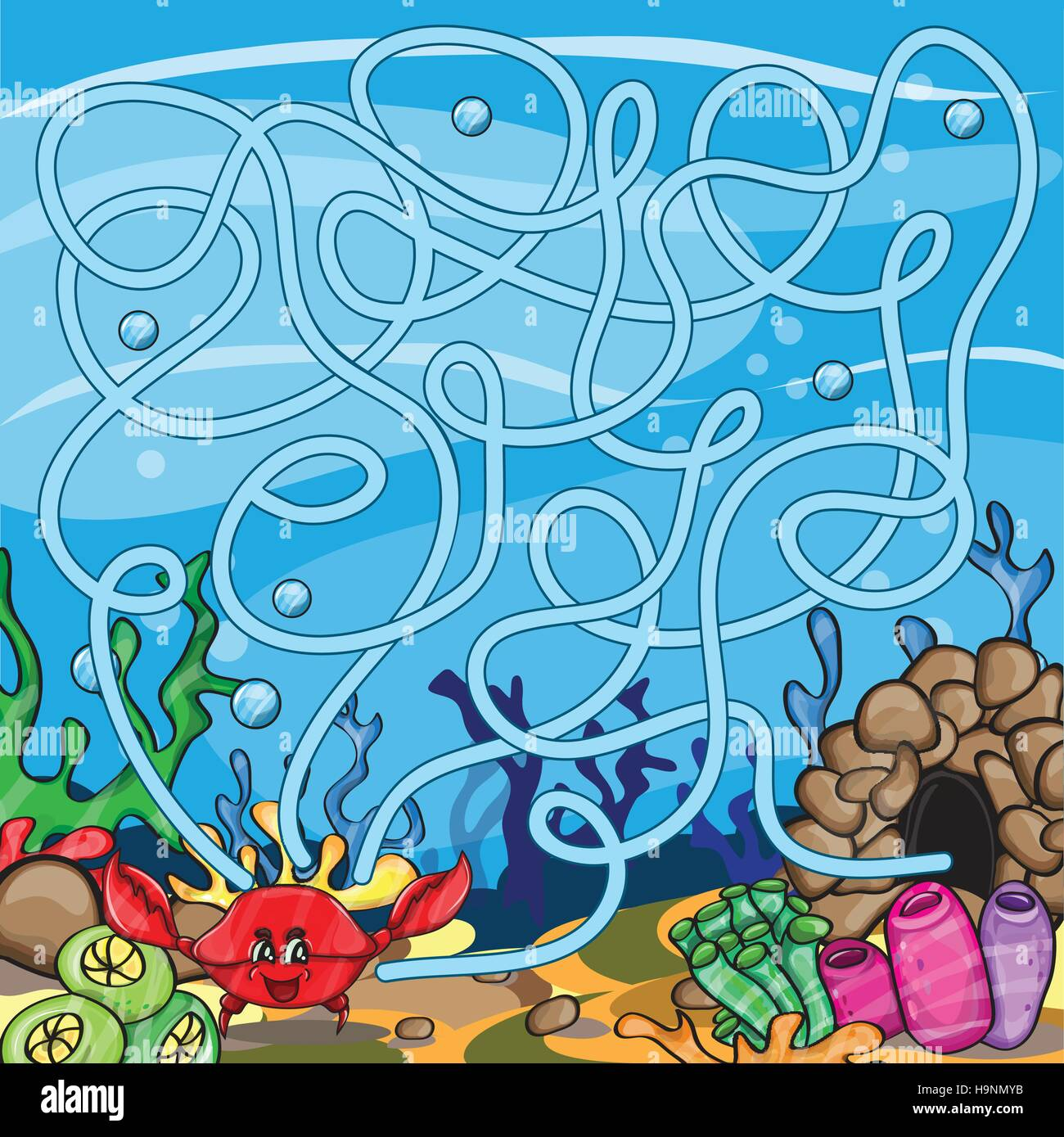 Vector puzzle for kids  - the marine life - Stock Image