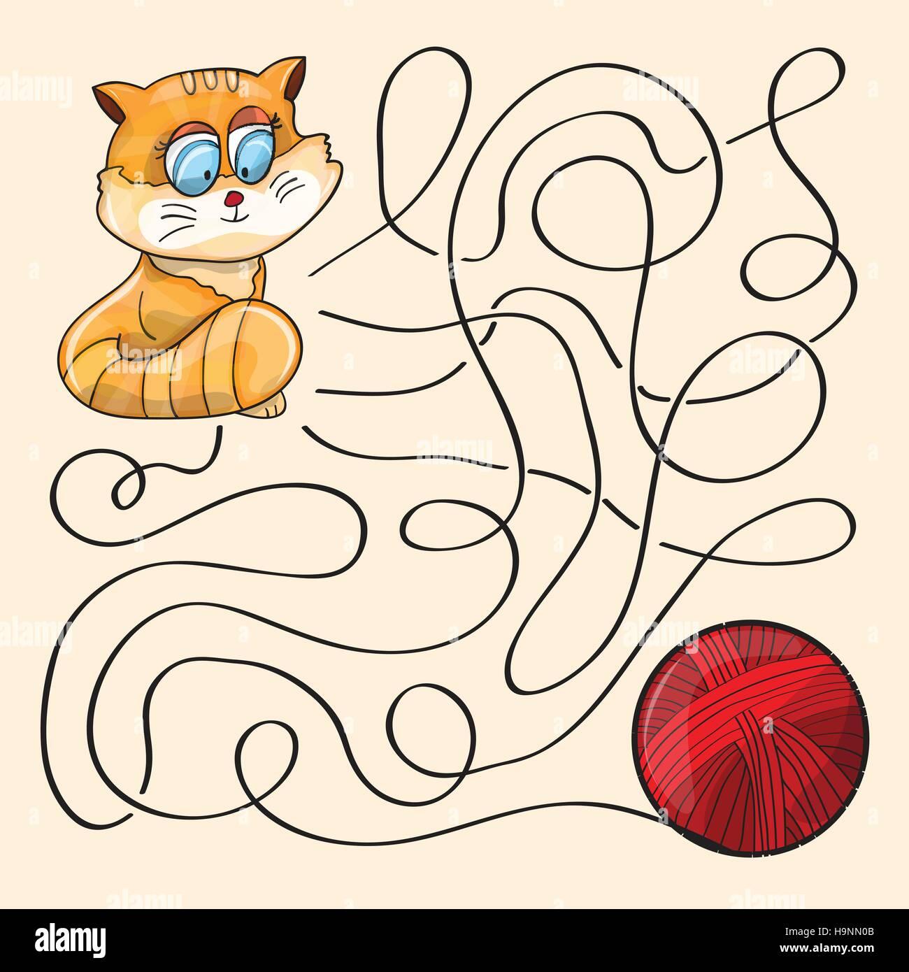 Kitten And Wool Ball  - Maze Game - vector - Stock Vector