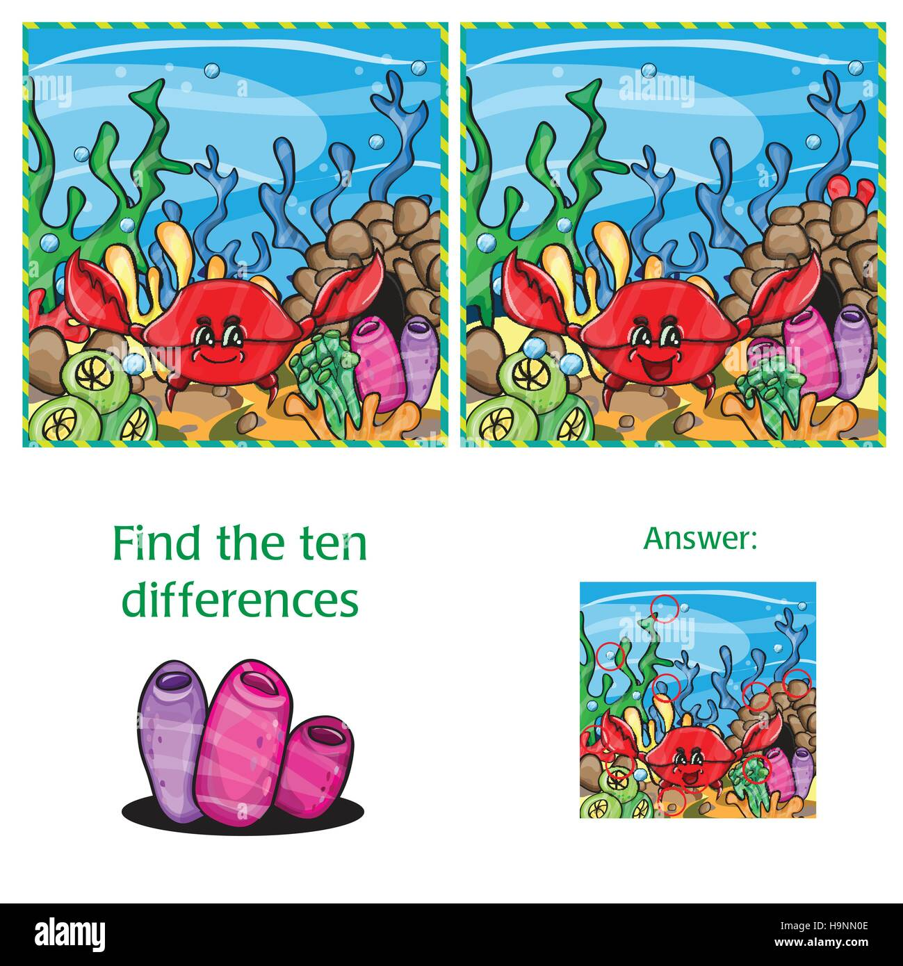 Visual Game find 10 differences with answer  - vector file - Stock Image