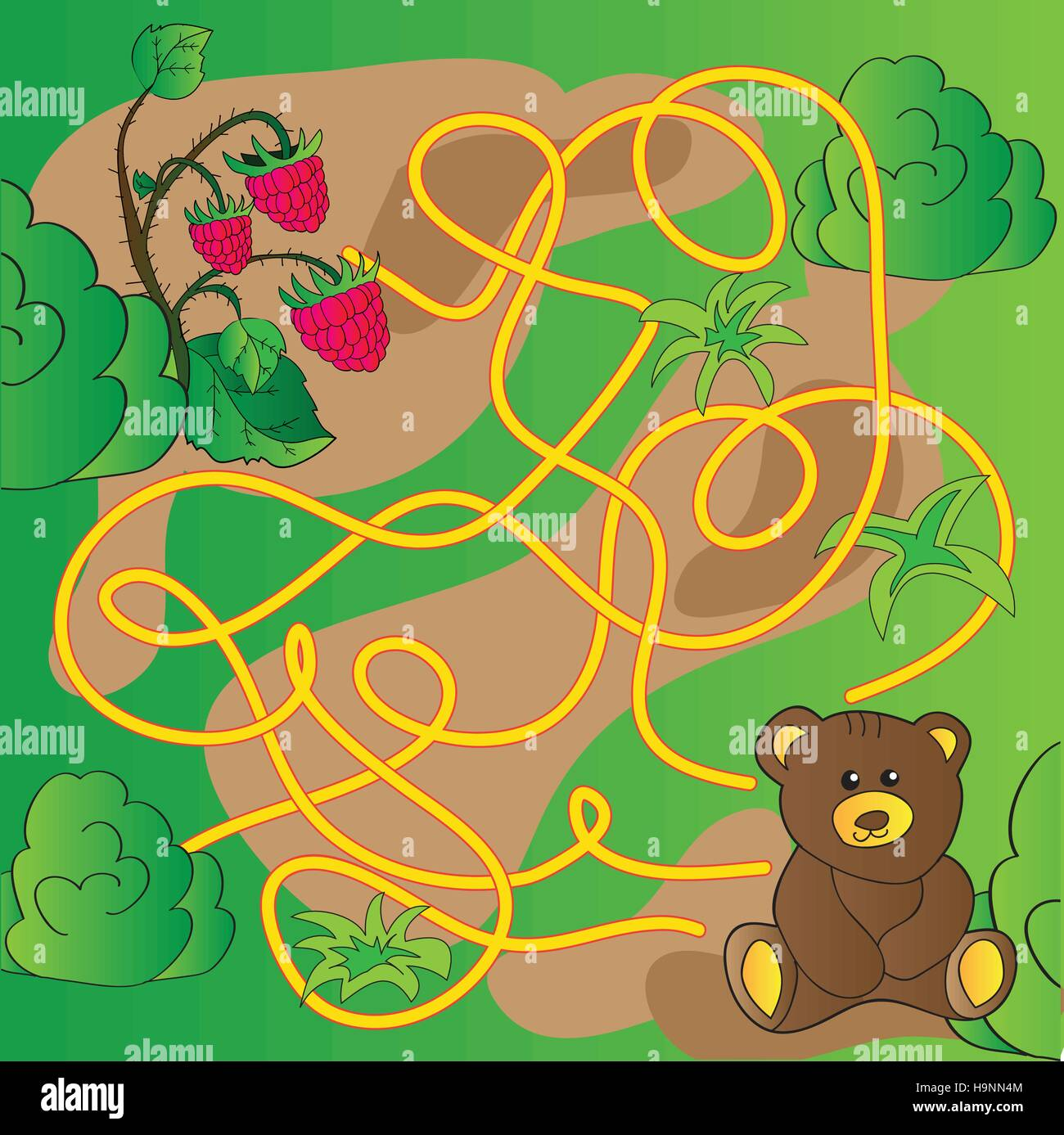 Cartoon Illustration of Education Maze or Labyrinth Game for Preschool Children with Funny Bear Animal and raspberries - Stock Image