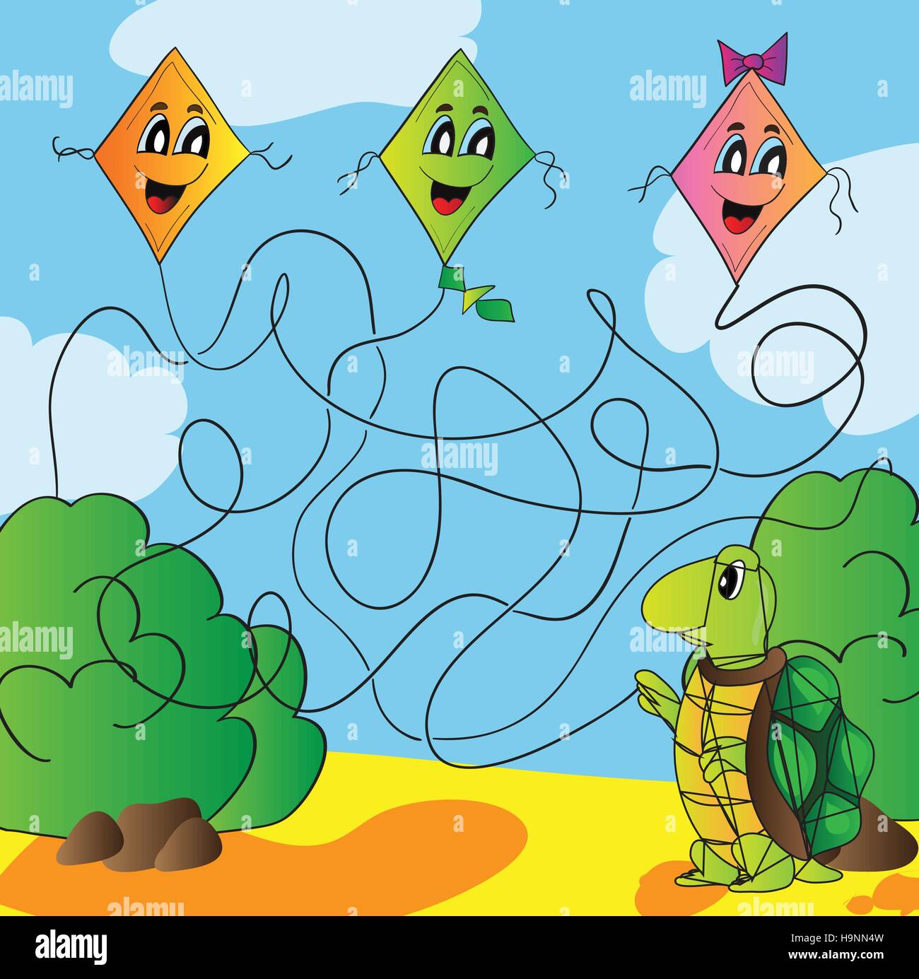 Maze turtle with a kite vector illustration - Stock Image