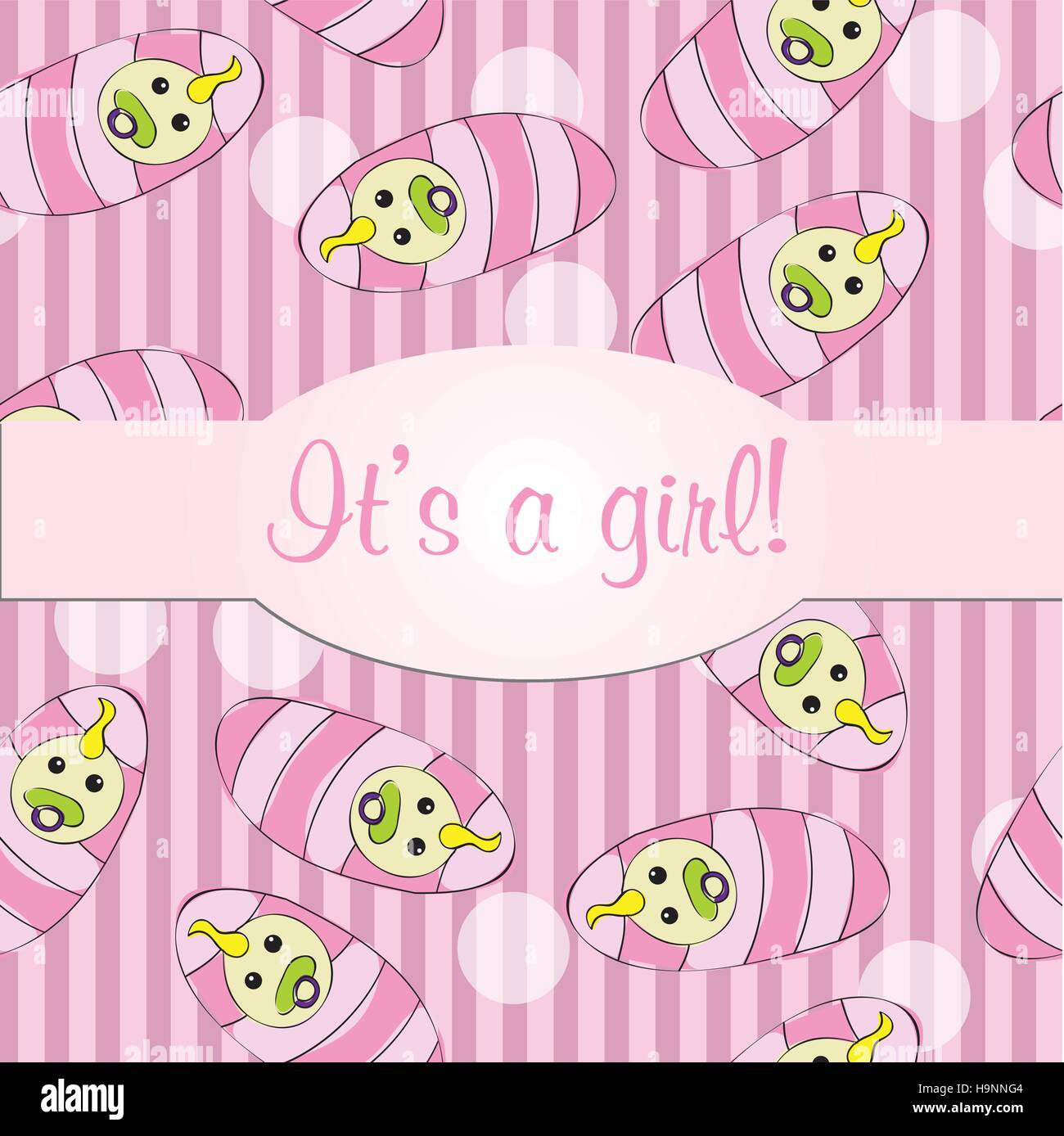 Baby girls seamless pattern background - vector illustration for card - it is a girl - Stock Vector