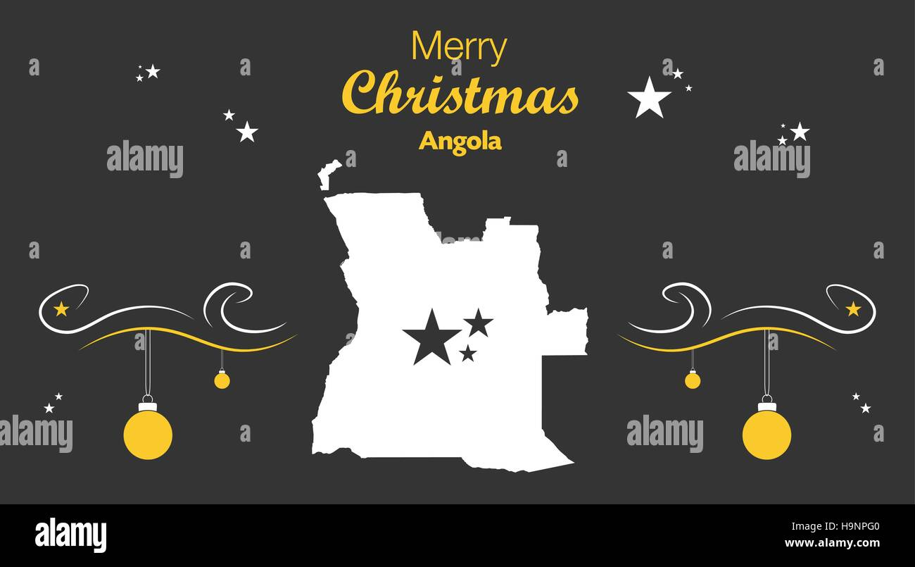 Merry Christmas illustration theme with map of Angola - Stock Vector