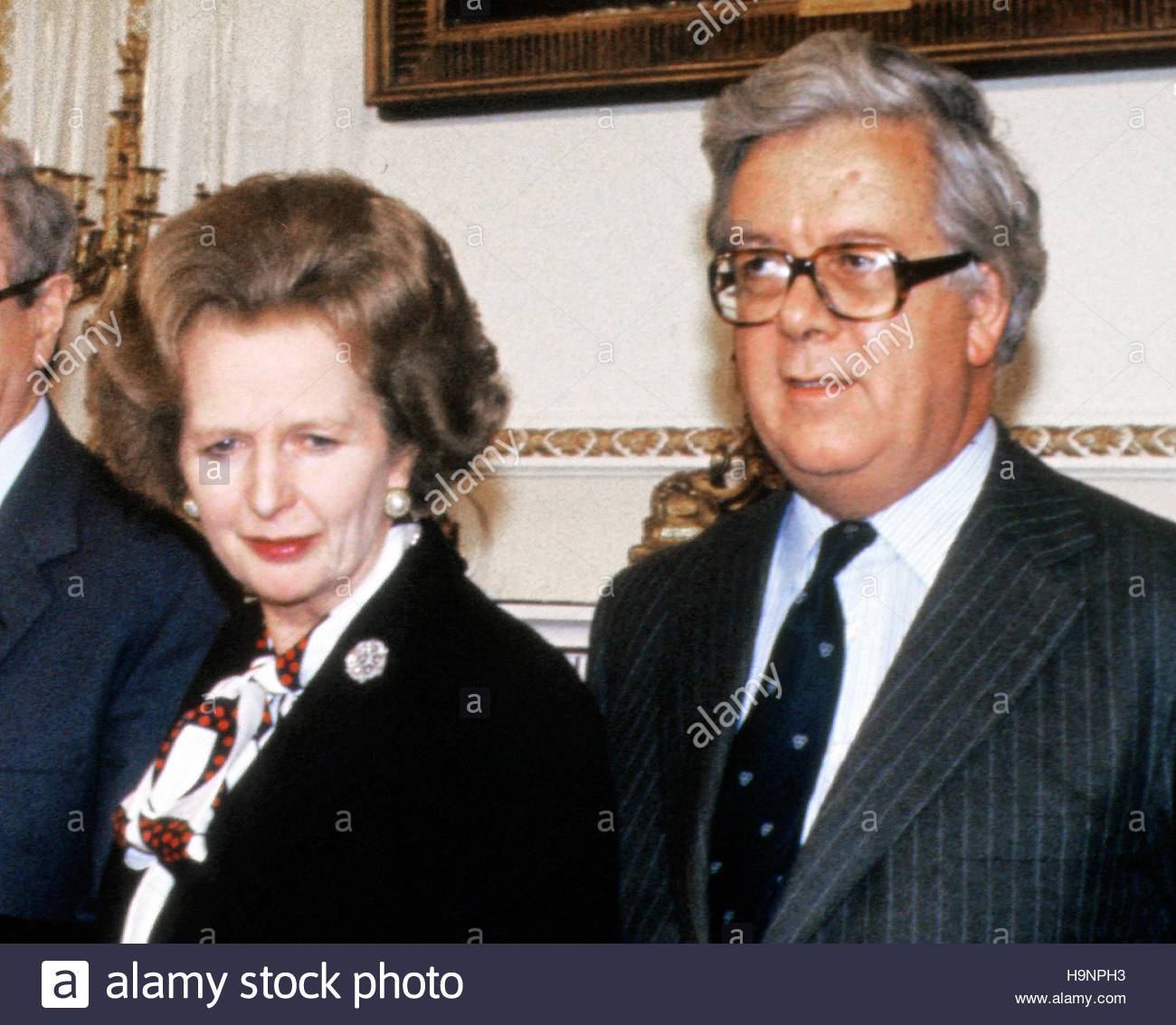 File photo dated 15/11/85 of Margaret Thatcher and Sir Geoffrey Howe, who repeatedly appealed to Mrs Thatcher for - Stock Image