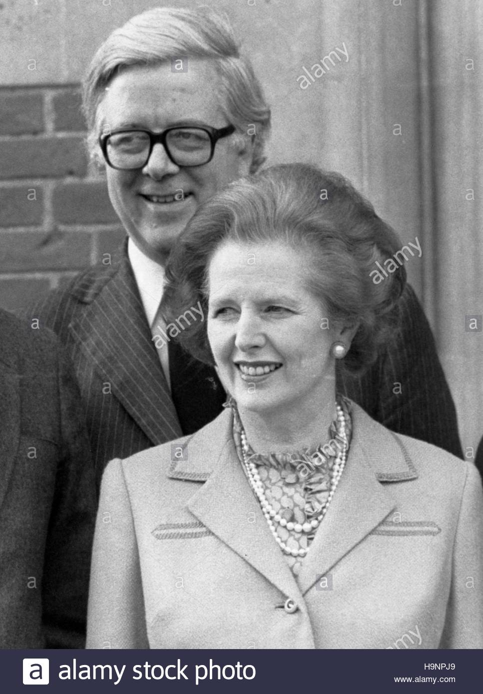 File photo dated 12/02/84 of Margaret Thatcher and Sir Geoffrey Howe, who repeatedly appealed to Mrs Thatcher for - Stock Image