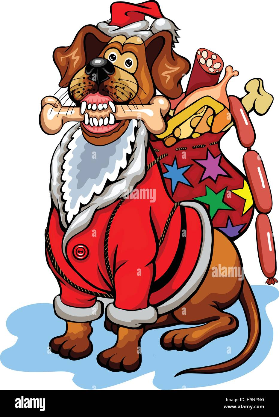 Dog with Christmas gifts for dogs. Christmas vector illustration ...