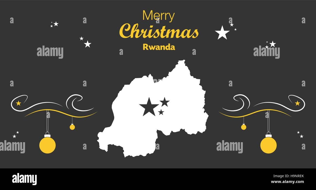 Merry Christmas illustration theme with map of Rwanda - Stock Vector