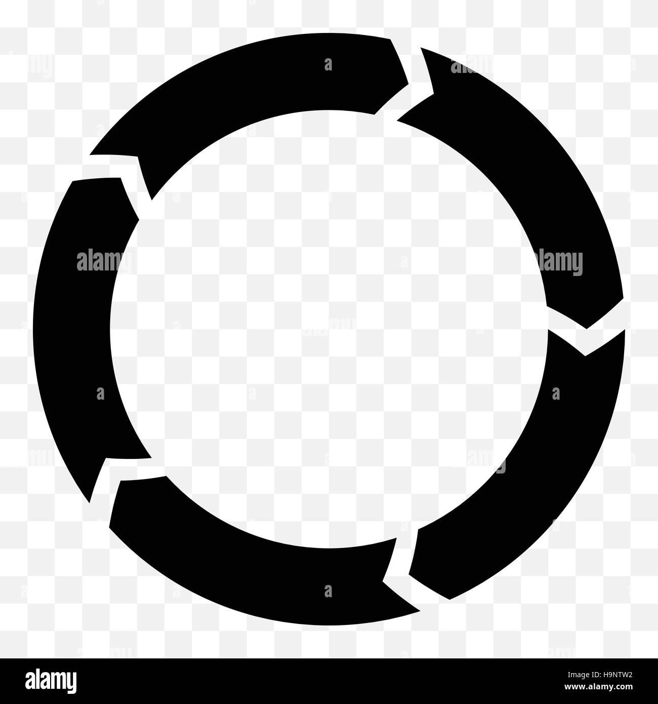 Segmented circle arrow. Circular arrow icon. Process ...