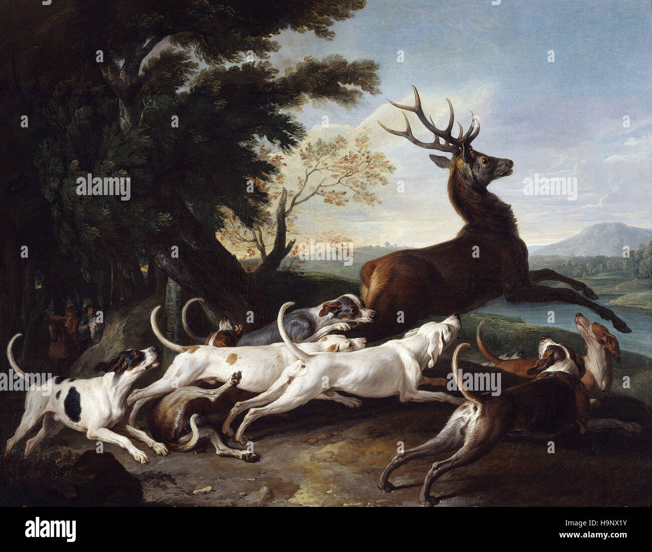 François Desportes   - Stag Driven from the Woods   - 1718 - Stock Image