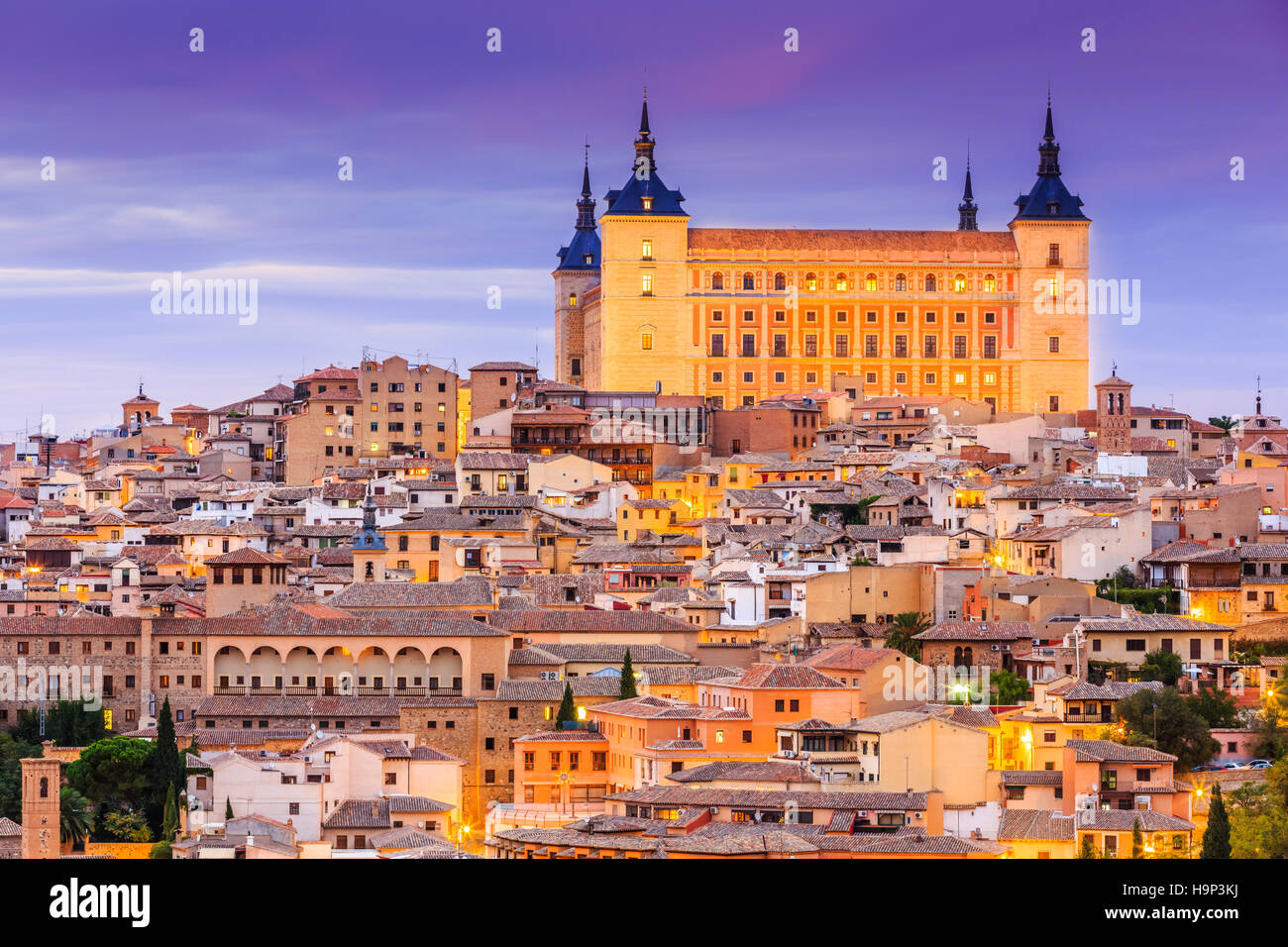 Toledo, Spain. Panoramic view of the old city and its Alcazar (Royal Palace). - Stock Image