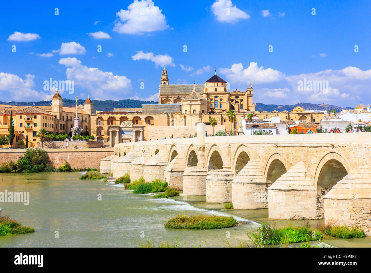 Cordoba, Spain. Roman Bridge and Mosque-Cathedral on the Guadalquivir River. - Stock Image