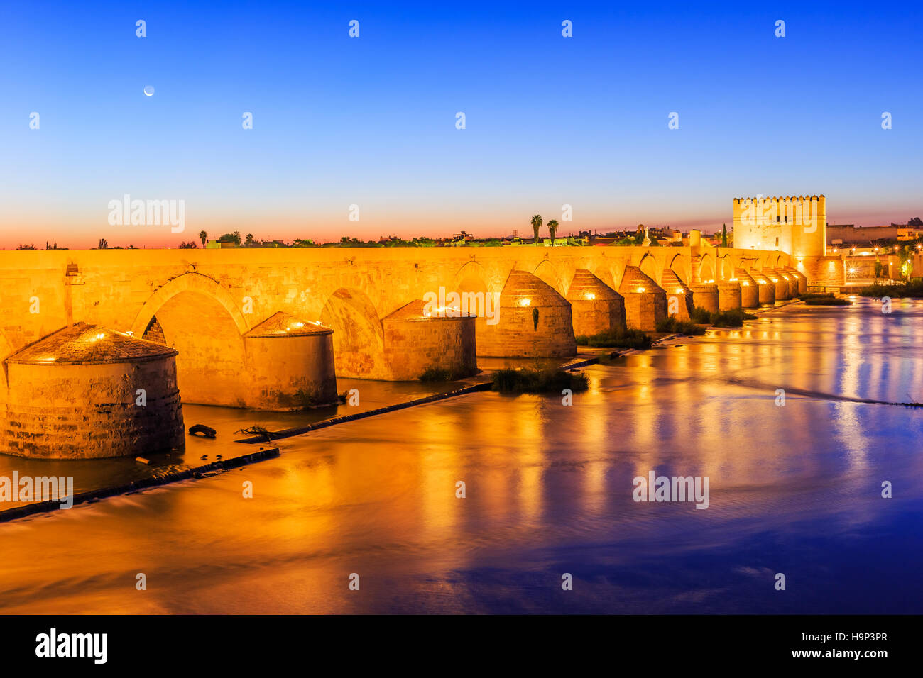 Cordoba, Spain. Roman Bridge on the Guadalquivir River. - Stock Image