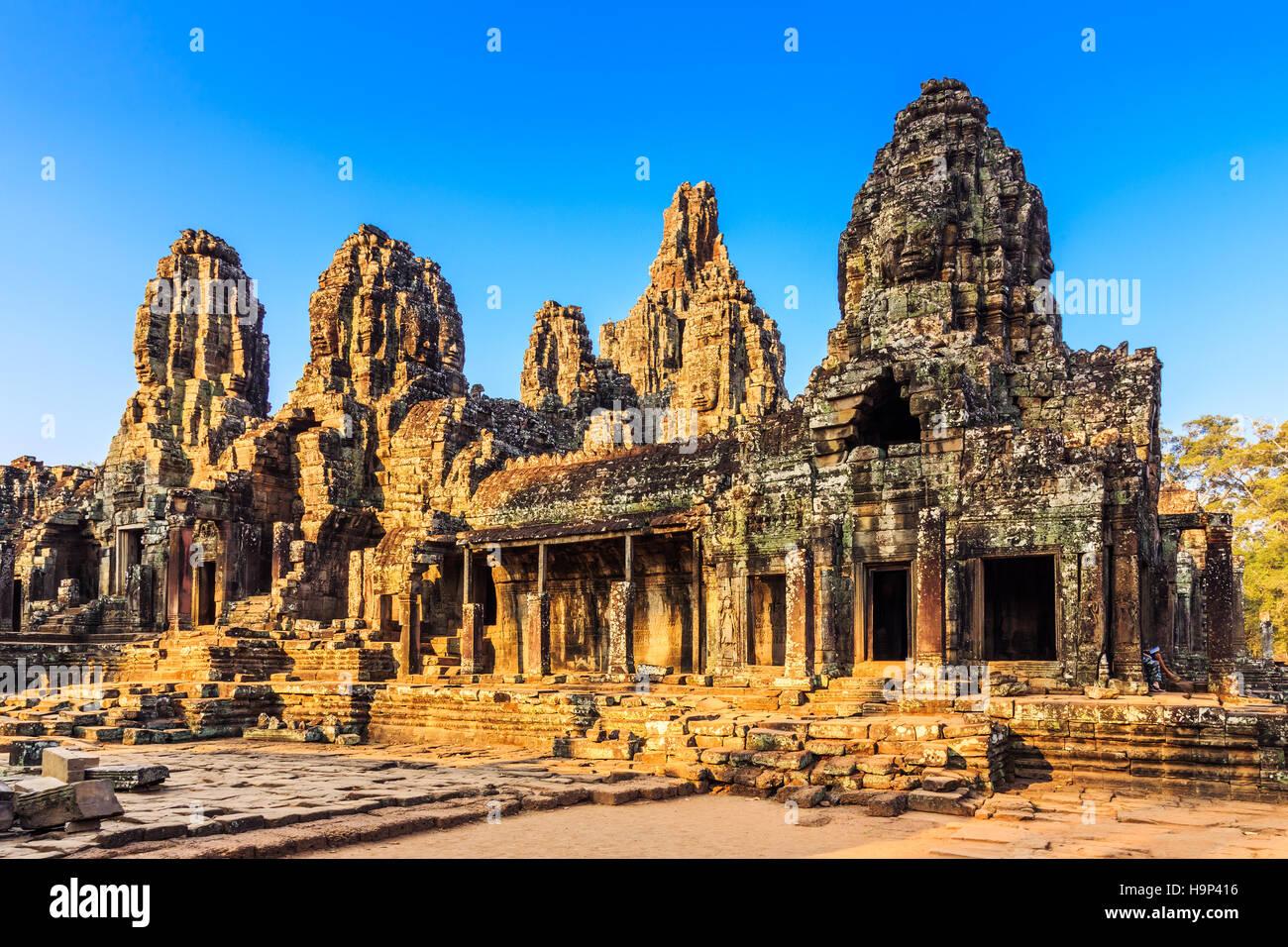 Angkor, Cambodia. Bayon Temple Angkor Thom. Ancient Khmer architecture. - Stock Image