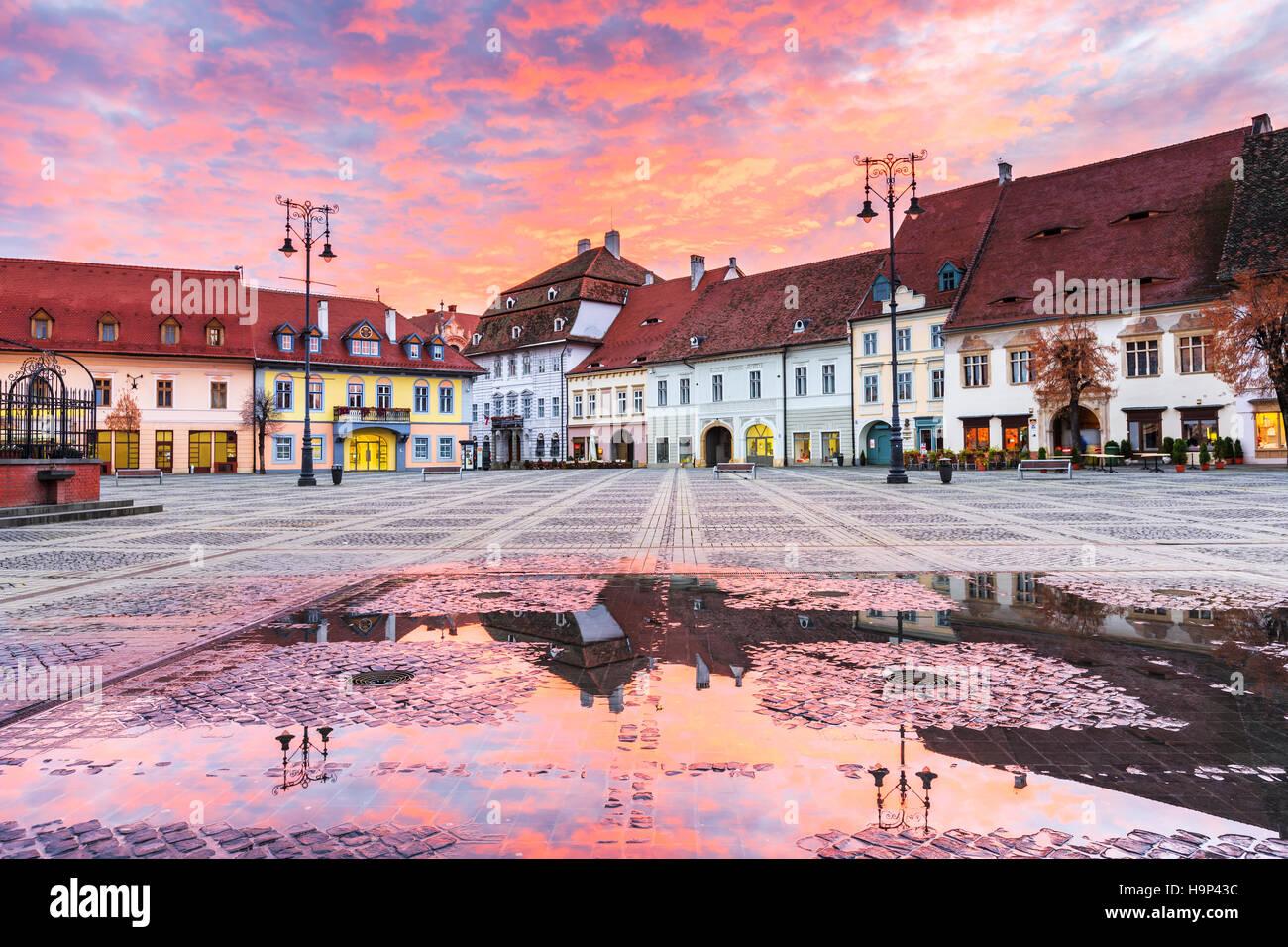 Sibiu, Romania. Large Square. Transylvania medieval city. - Stock Image
