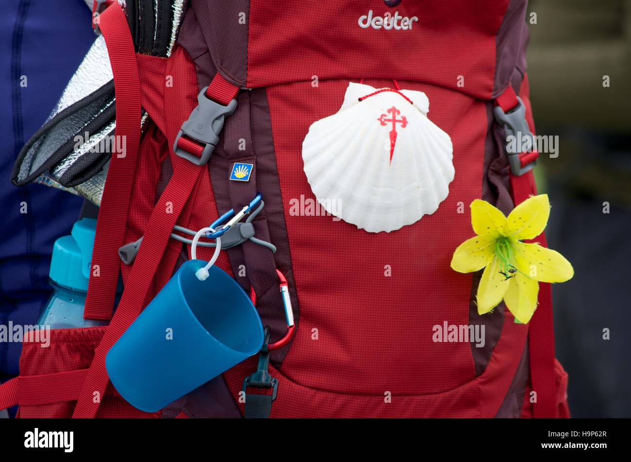 A pilgrim's rucksack on the pilgrim route to Santiago de Compostela - Stock Image