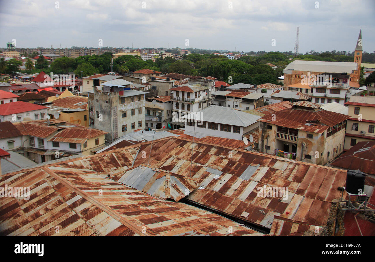 Iconic rooftops of Old Stone Town in Zanzibar - Stock Image