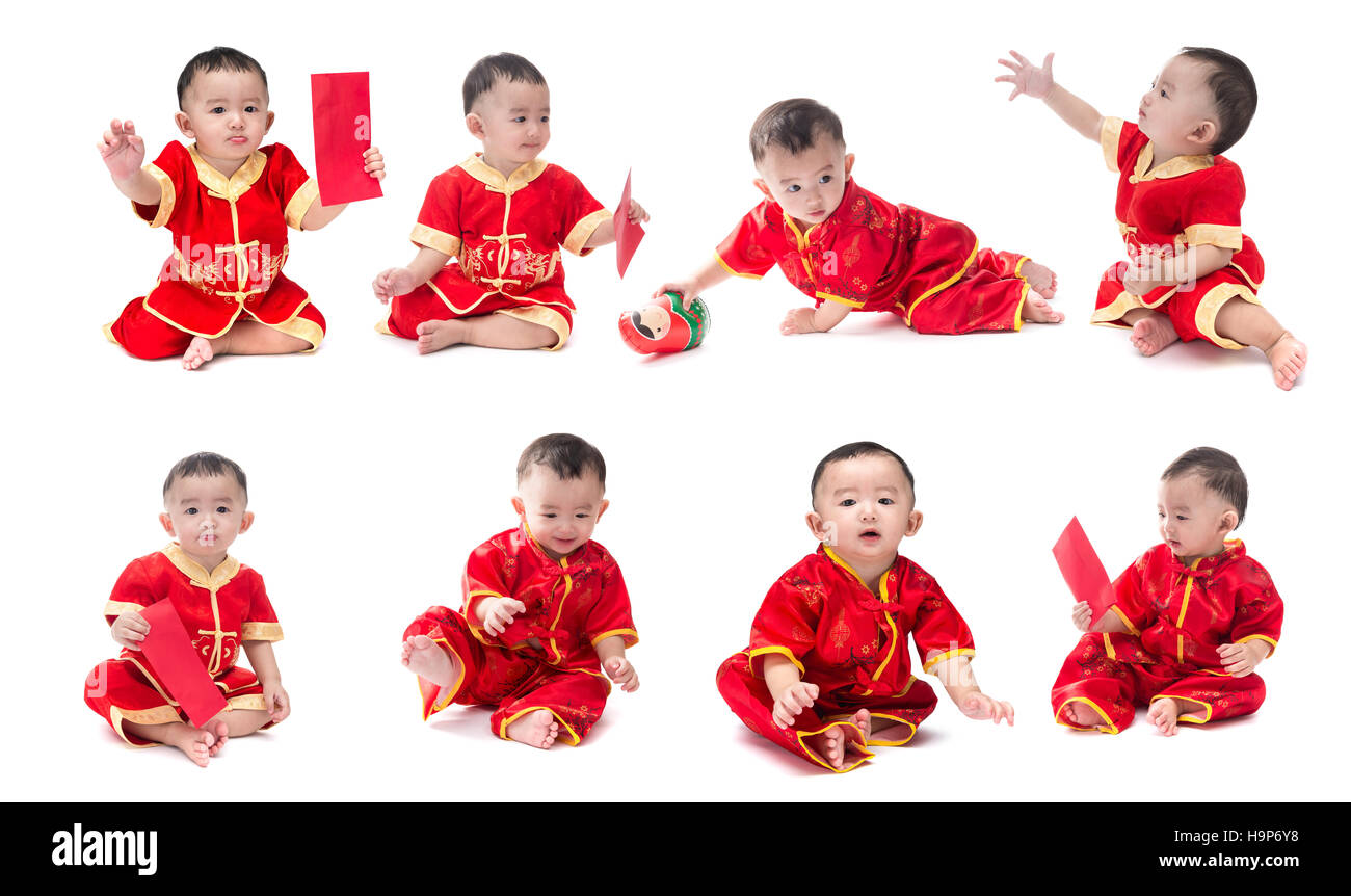 d39be2957 Set of cute Asian baby boy in traditional Chinese suit Isolated on white  background, Chinese New Year Concept, facial expressions, various characters