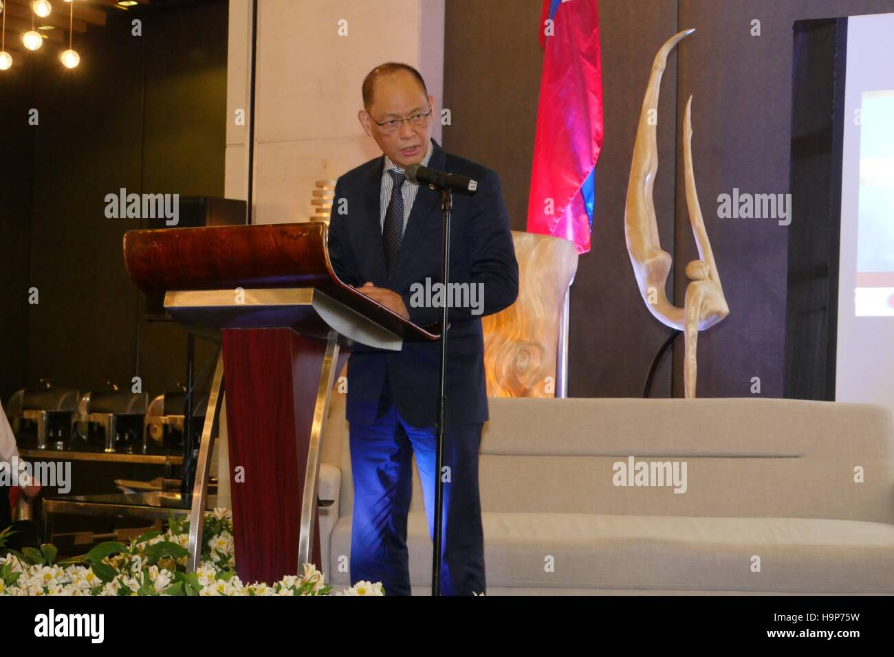 Hon. Benjamin Diokno, Secretary of Budget and Management, talks about how the Philippine economy can strive in current - Stock Image
