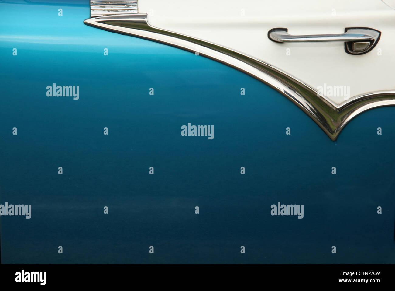 Close up of a blue door of a 1950's classic car, in Havana, Cuba, Caribbean. - Stock Image