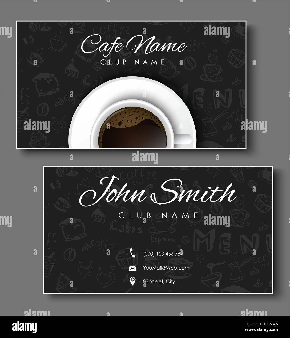 Set of black business cards for coffee shops and cafes templates set of black business cards for coffee shops and cafes templates with hand drawings and a cup top view vector illustration colourmoves