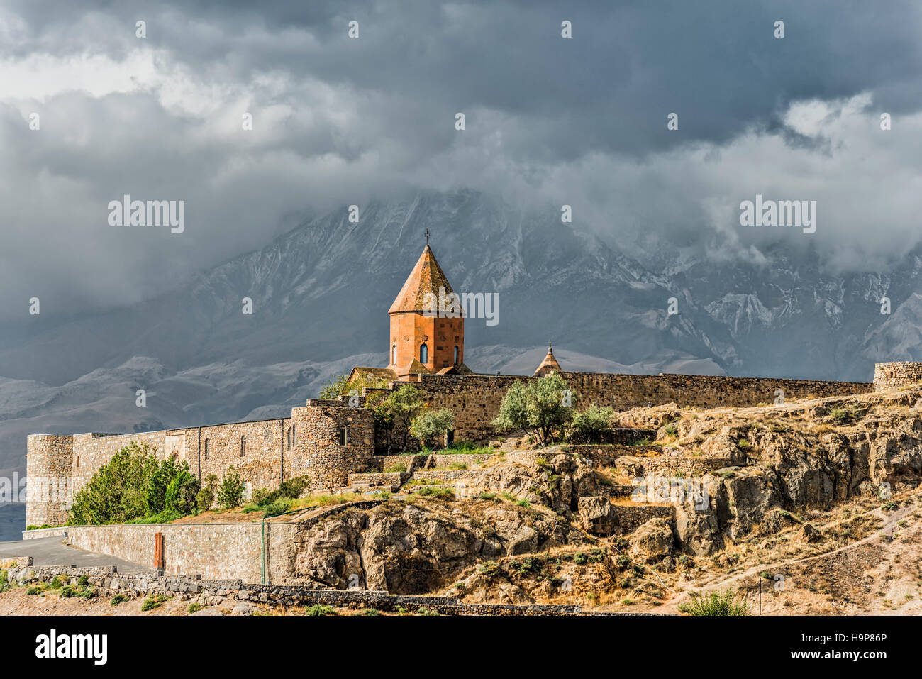 Khor Virap Monastery and apostolic church at the foot of Mount Ararat, Ararat Province, Armenia, Caucasus, Middle Stock Photo