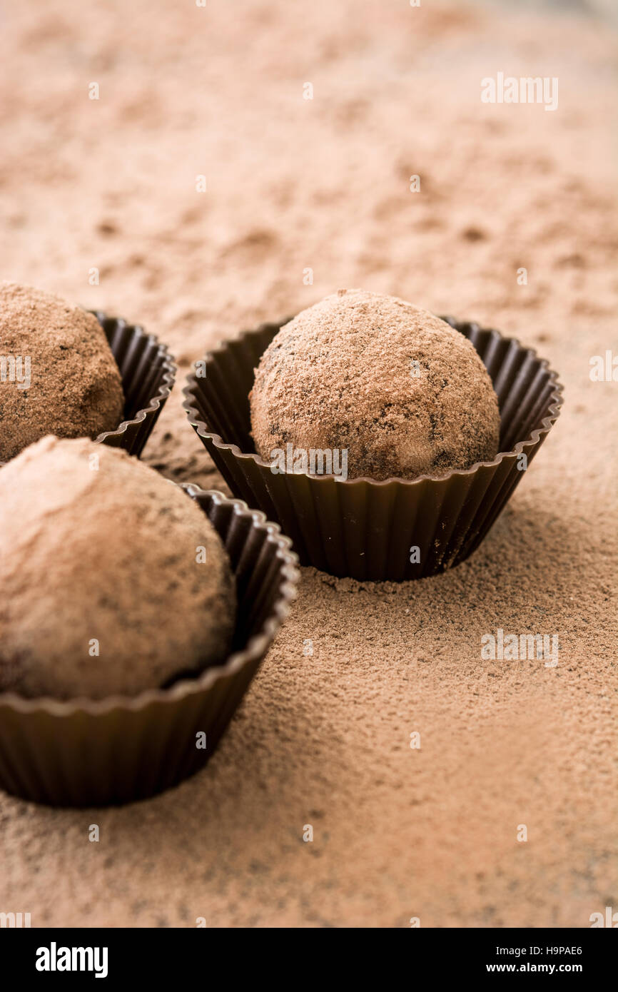 Delicious chocolate truffles with cocoa dusted - Stock Image