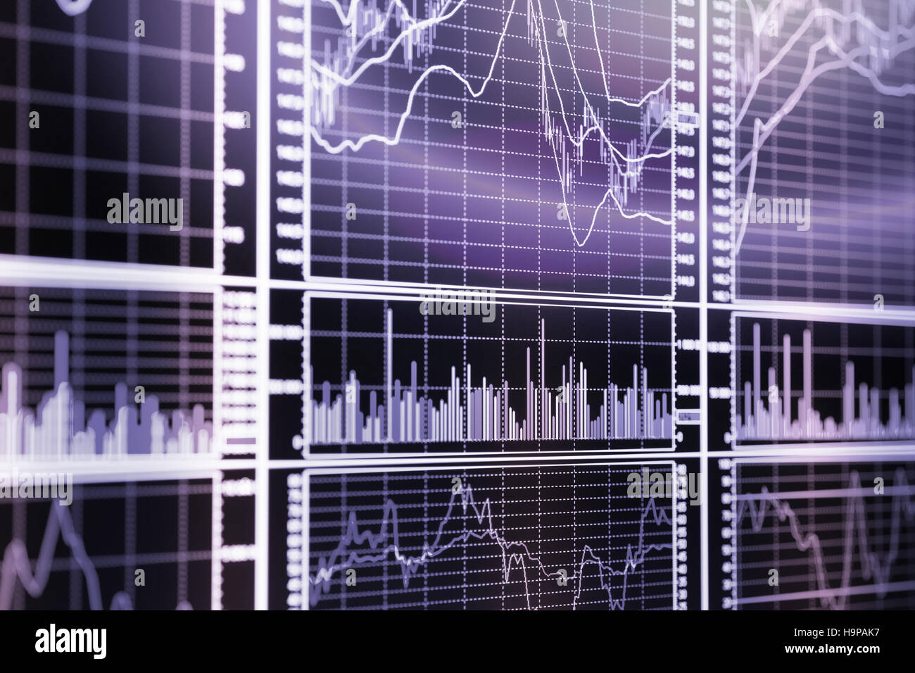 Stock exchange graphs. Selective focus toned image - Stock Image