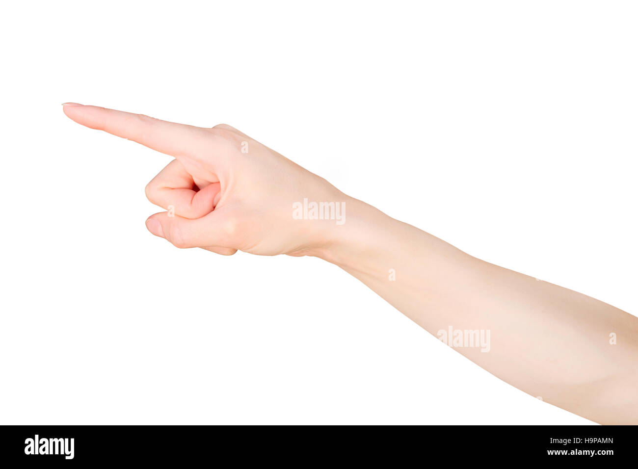 Pointing finger. Female hand pointing or touching something. Isolated on white with clipping path - Stock Image