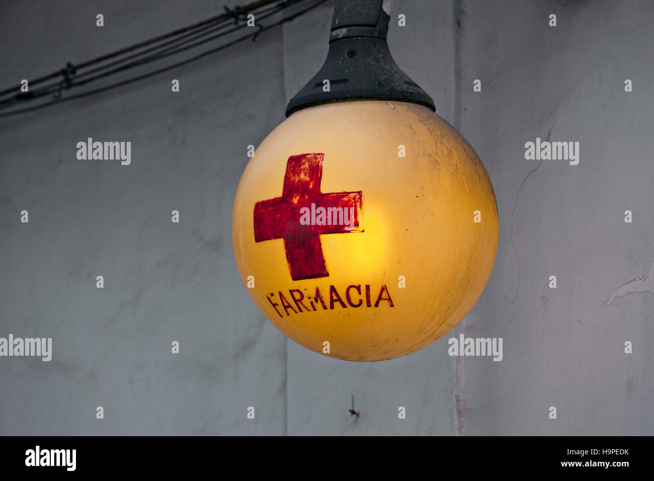 Italian Chemist Shop light sign, Capri, Campania, Italy, Europe - Stock Image