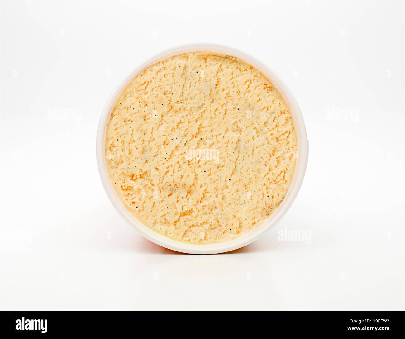 Overhead shot of vanilla lid ice cream - Stock Image
