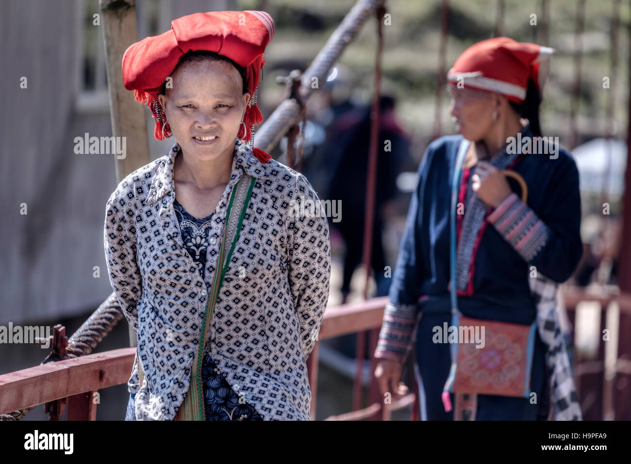 Red Dao minority women in the tribal village Lao Chai in Sapa, Vietnam, Asia - Stock Image