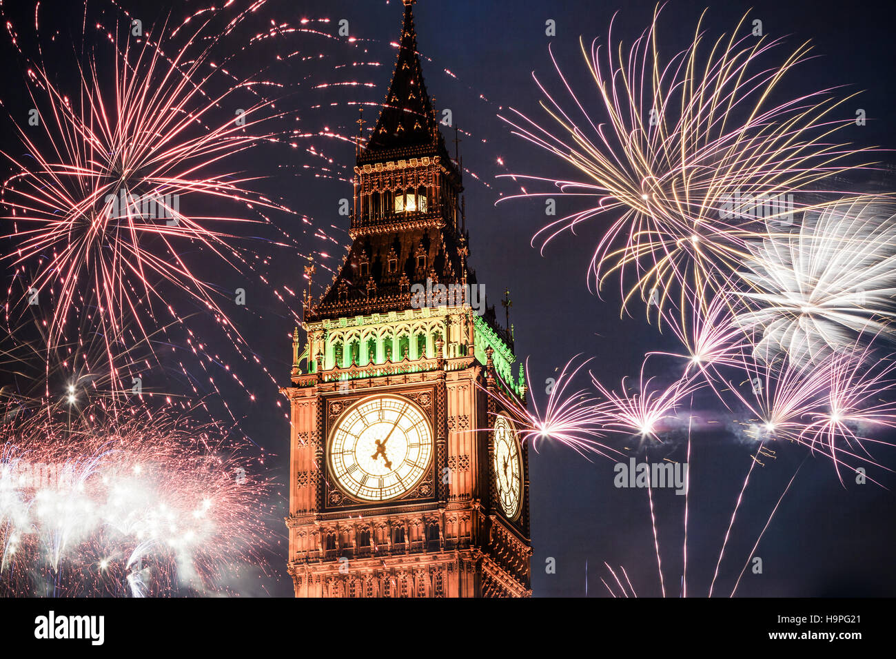 explosive fireworks around big ben new years eve celebration background