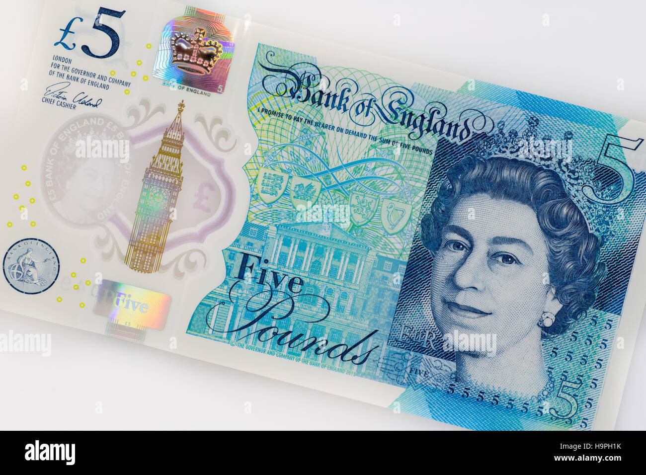 2016 new British five pound note made from plastic polymer Stock Photo