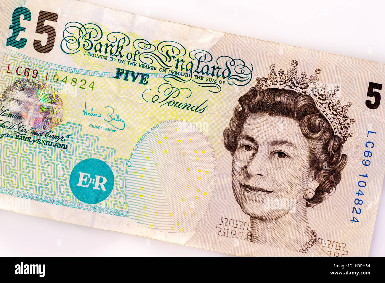 British five pound note, old paper version in circulation until 2016 - Stock Image