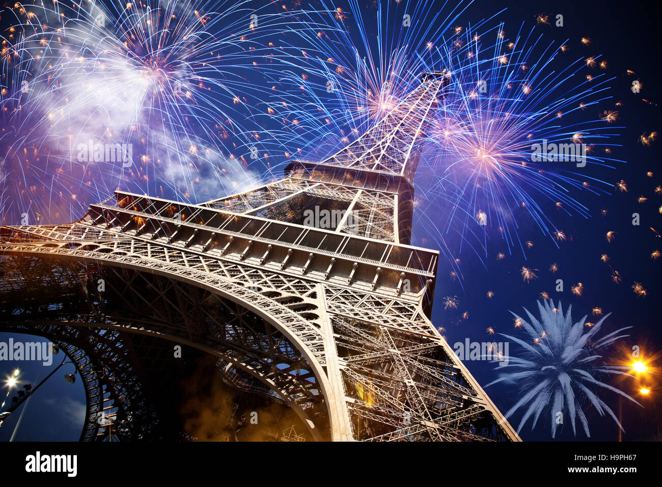 eiffel tower with fireworks, celebration of the new year in paris