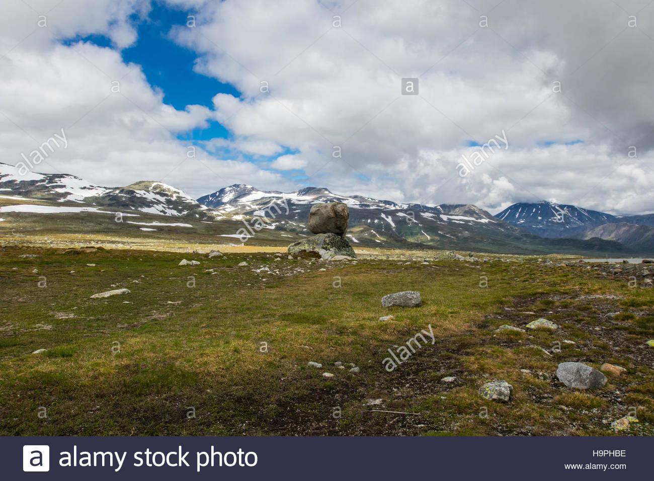 look from fylkesvei 51 to jotunheimen national park, oppland, norway, july 2016 - Stock Image