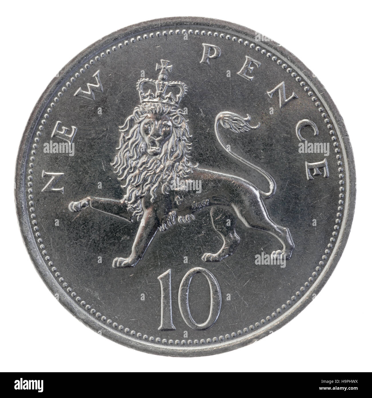 1981 British coin, older larger 10 pence piece - Stock Image