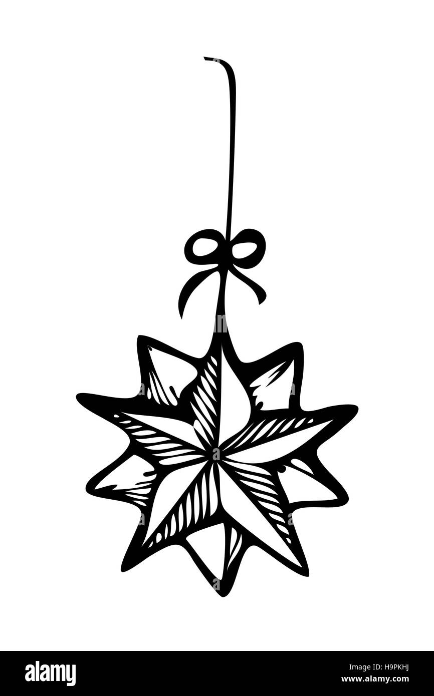 Christmas ornament star, zentangle style in black and white for ...