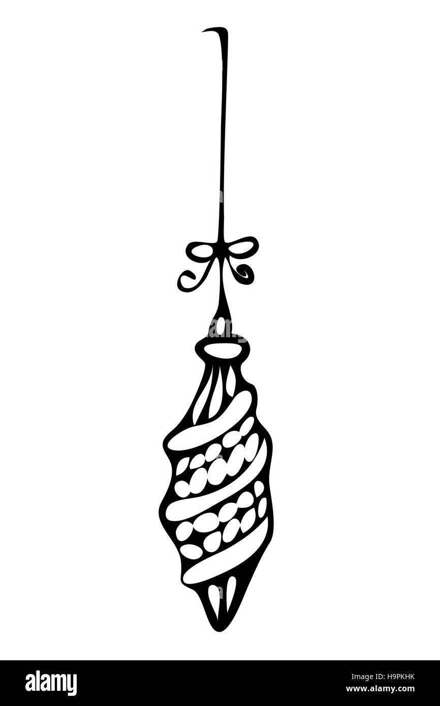 Christmas ornament, zentangle style in black and white for coloring ...